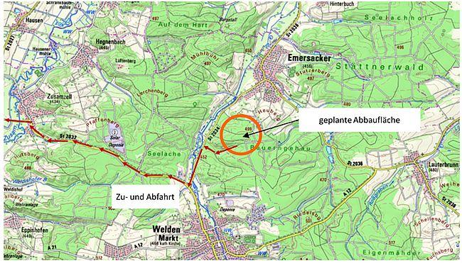 Informationen des Gemeinderates Emersacker zur Thematik geplanter Kiesabbau im Wald zwischen Emersacker und Welden durch die Fuggerschen Stiftungen