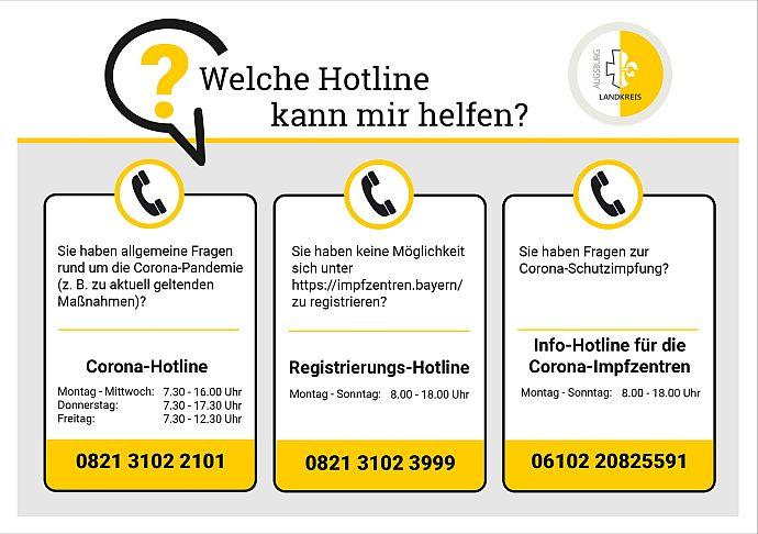 Corona-Hotlines im Landkreis Augsburg - zur barrierefreien Darstellung der aktuellen Hotlines einfach dem Link folgen!